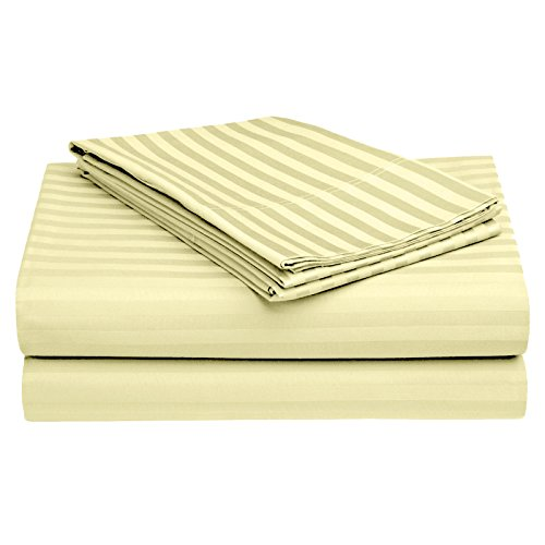 Story@Home RIVIERA Collection Soft Natural Cotton Long-staple 4 Piece Bed Sheet Set Satin Stripe Series Size: California King- Beige