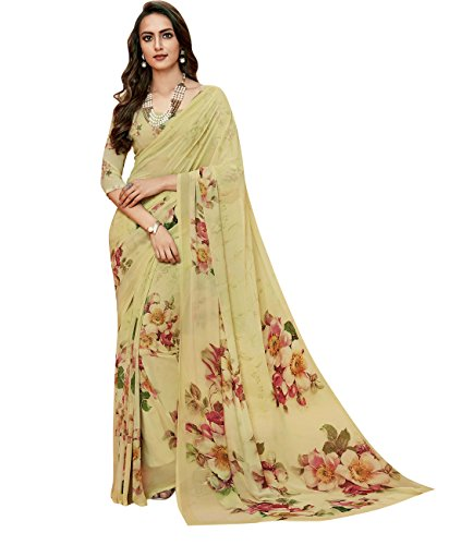 Indian Ethnicwear Bollywood Pakistani Faux Georgette Cream Coloured Printed Saree by Maahir Garments