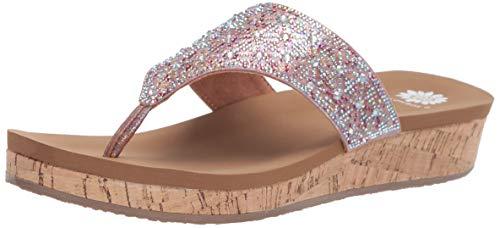 Yellow Box Women's Cristal Sandal, Fuchsia Multi, 8 M - Pink Sandal Jeweled