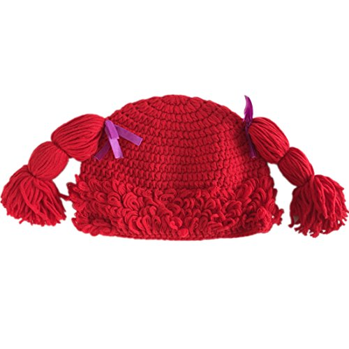 Baby Rag Doll Halloween Costume (Kids Girls Crochet Beanie Hat with Hairs Red Color Baby Hats Small(fits)