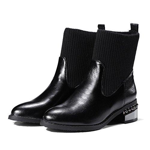 Sandalette-DEDE Botas Casual de Tubo bajo, Botas de otoño Invierno Universitario, Botas de Mujer y Botas Bajas. black