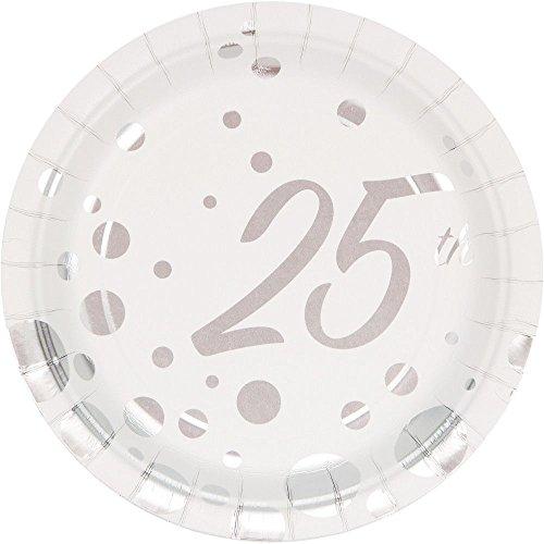 "Creative Converting 317848 8 Count 25th Anniversary Paper Dessert Plates, 7"", Sparkle and Shine Silver"