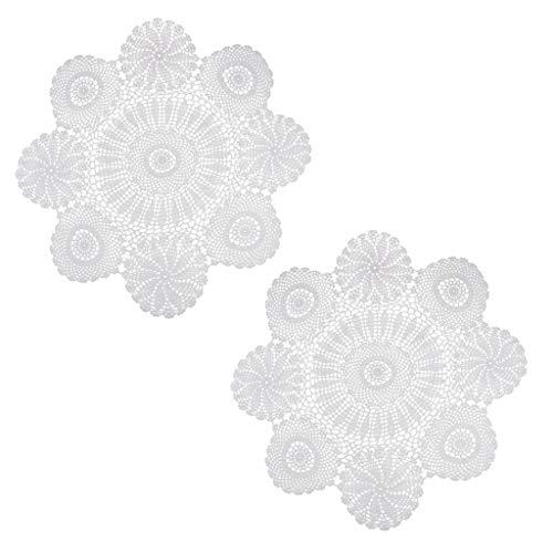 SM SunniMix 2 Pieces Elegant Design Cotton Hand Crochet Lace Doily Placemat Round Coaster Mug Table Place Cup -
