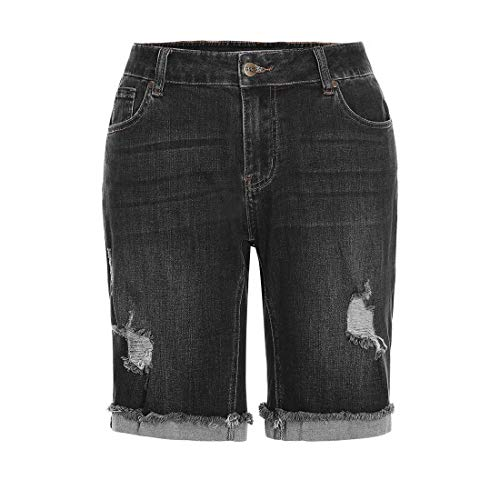(MSSHE Women's Plus Size Destroyed Washed Bermuda Shorts Jeans Pants Denim Shorts 20W)