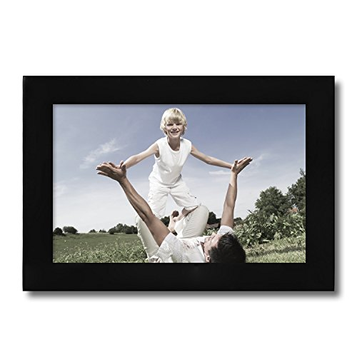 Adeco 4x6 Black Wood Decorative Picture Frame - Wall hanging or Table Top Desktop Display - Made to Display 4x6 Photo
