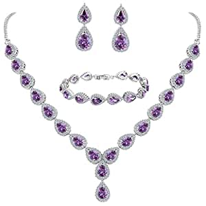 BriLove Women's Wedding Bridal Teardrop CZ Infinity Figure 8 Y-Necklace Tennis Bracelet Dangle Earrings Set Amethyst Color Silver-Tone