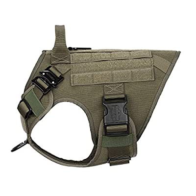 """ICEFANG Tactical Dog Harness,K9 Working Dog Vest,No Pulling Front Clip Leash Attachment (M (25""""-30"""" Girth), OD-2x Metal Buckle)"""