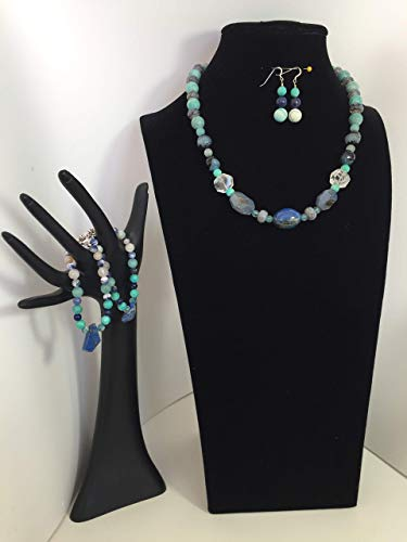 Artistic handmade Lapis jewelry set with a necklace, two bracelets and matching dangle earrings. Lapis, crystal, malichite, blue topaz and mixed gemstones. One of a ()