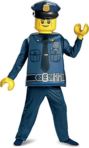 Disguise Lego Police Officer Deluxe Costume, Blue, Small (4-6) ()
