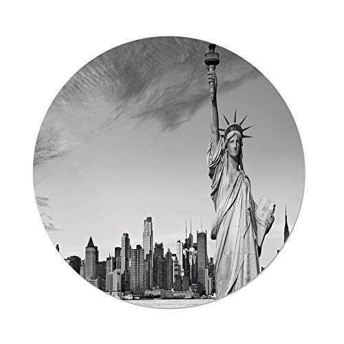 iPrint Polyester Round Tablecloth,Black White Decorations,Statue Liberty New York City American Monument Decorative,Light Grey Black White,Dining Room Kitchen Picnic Table Cloth Cover Outdoor Ind