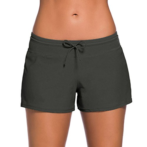Blugibedramsh Women's Plus Size Beach Boardshorts Tankini Swimsuit Bottom Swim Brief Mini Shorts Grey ( XXXL )