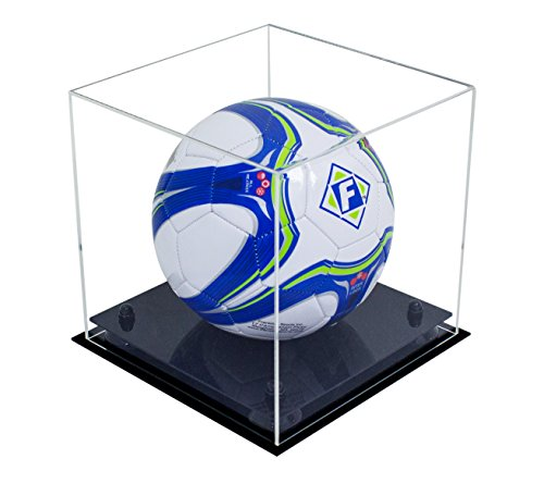 - Deluxe Clear Acrylic Soccer Ball Display Case with Black Risers (A027-BR)