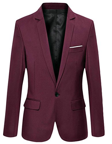 M&S&W Men's Long Sleeve One Button Casual Suit Jacket Wine Red XS by M&S&W