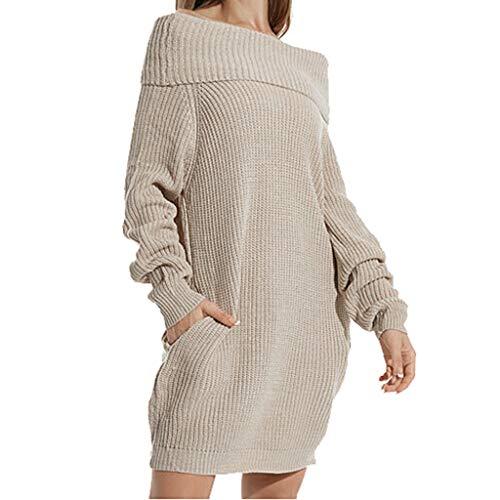 [해외]Sunnyadrain Women Autumn Winter Casual Large Size High Collar Loose Pocket Sweater Pullover / Sunnyadrain Women Autumn Winter Casual Large Size High Collar Loose Pocket Sweater Pullover Beige