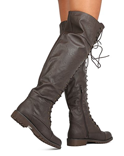 Women Leatherette Over The Knee Lace up Combat Boot FG08 - Brown (Size: 8.0) by Nature Breeze (Image #2)