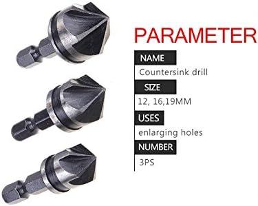 6Pcs Countersink Drill Bit Set 1//4 Hex Shank 6-19mm Titanium Plated Five-Blade Chamfer Countersink Drill Bit High Carbon Steel Reaming Chamfer for Woodworking Muye