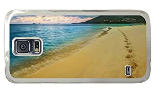 Hipster for cheap Samsung Galaxy S5 Cases Beach Tracks PC Transparent for Samsung S5