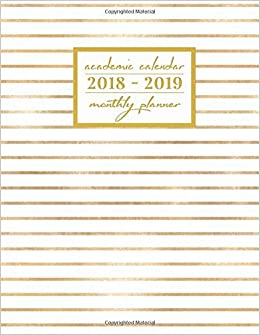 amazon academic calendar 2018 2019 monthly planner gold stripes