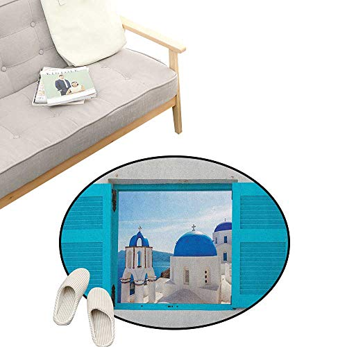 Landscape Round Rug ,Window with View of Classical Building with Blue Domes Oia Santorini Greece, Art Deco Non-Slip Backing Machine Washable 47