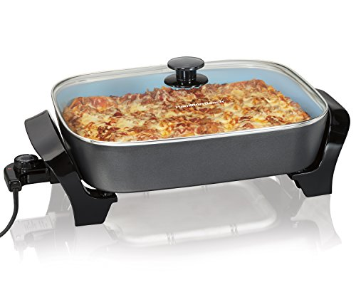 Hamilton Beach 38528 Deep Dish Ceramic Skillet, Black