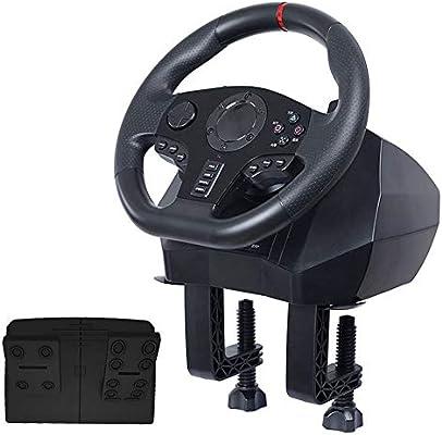 LLGHT Volante de Carreras para PC / PS3 / PS4 / Switch/Xbox One/Xbox 360 Juegos de Carreras de Seis Plataformas, Rotación 900 ° / 270 °, Palanca de Cambios Profesional, Volante y Pedales: Amazon.es: Hogar