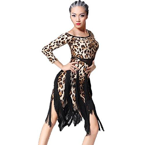 [Latin Dance Dress Tassel Women Tango Salsa Rumba Cha Cha Samba Tango Dance Performance Clothes Competition Costumes Party Stage(Brown] (Swing Jive Costumes)