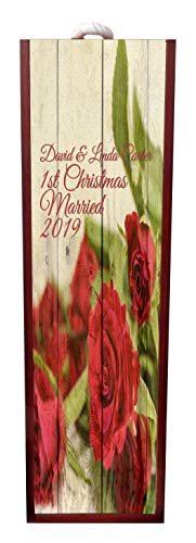 Jacks Outlet Our 1st Christmas Married - 2019 Red Roses Wine Box Personalized - Wine Box Rosewood with Slide Top - Wine Box Holder - Wine Case Decoration - Wine Case Wood - Wine Box Carrier ()