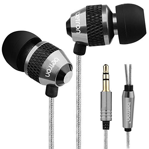 Betron B25 Noise Isolating in Ear Canal Headphones Earphones with Pure Sound and Powerful Bass for iPhone, iPad, iPod, Samsung Smartphones and Tablets (Black Without Remote)