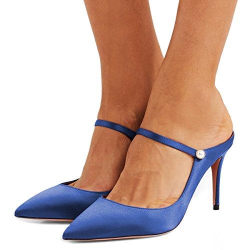 Fsj Donna Carino Slip On Mules Scarpe A Punta Pompe A Spillo Tacco A Spillo Mary Jane Sandali Scarpe Taglia 4-15 Us Blu