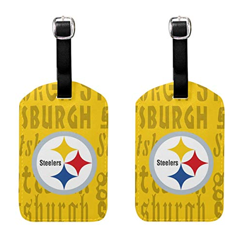 - MamaTina Design PU Leather Luggage Tag Pittsburgh Steelers Suitcase Labels ID Tags 2 Pcs Set for Bags & Baggage