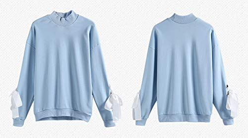 Rond Bandage Mode Sweat Blouse Jumpers Hauts Longues Pullover Manches Tops Col Bleu Pulls Shirts Femmes qtRPw