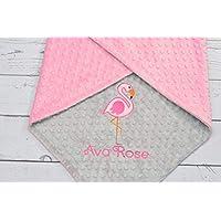 Personalized Flamingo minky baby blanket, Girls blanket, baby girls blanket