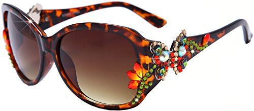 William Wang Womens designer sunglasses- Non-polarized Swarovski Crystal Sunglasses with hand set- best design with Swarovski Crystal Jewels - Butterfly Design - Pretty Sunglasses