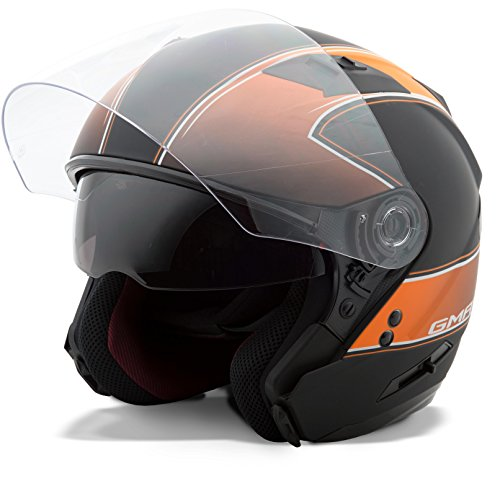 (GMAX Unisex-Adult Style G3771254 TC-6F Of77 Open Face Helmet Classic Flat Black/Orange s)