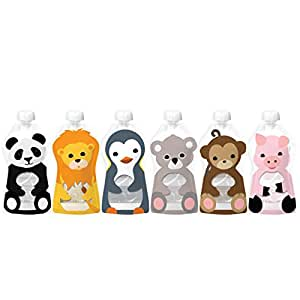 Squooshi Reusable Food Pouch   Animal 6 Pack   6 Large Pouches