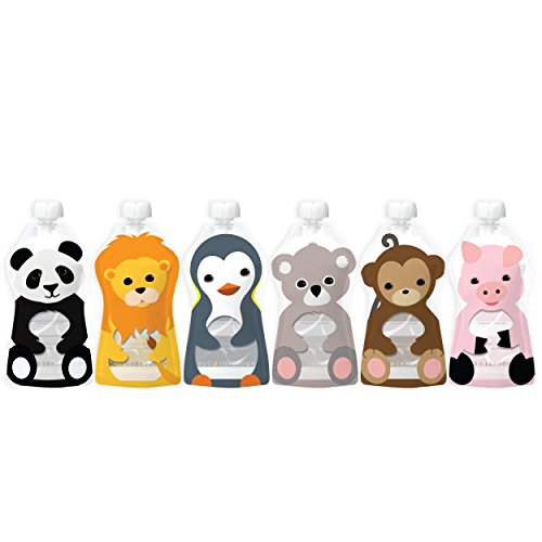 Squooshi Reusable Food Pouch | Animal 6 Pack | New Larger Size!