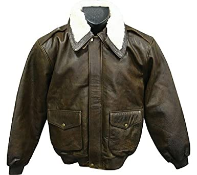 Distressed Brown Leather Bomber Jacket (Men's) (#299-2) at Amazon ...