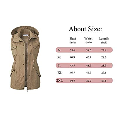 BBX Lephsnt Womens Utility Vest Drawstring Waist Military Sleeveless Jacket at Women's Coats Shop
