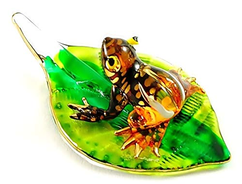Handmade Mini Orange Frog with Leaf Art Glass Blown Animal Figurine No.1 - Model Y2016
