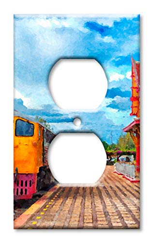 Art Plates Brand Electrical Outlet Cover Wall/Switch Plate - Train Painting