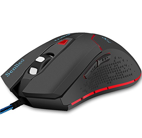 Senlleo Gaming Mouse, Precision Optical Wired Mouse With 3200 Adjustable DPI With 6 Programmable Buttons And 4 Color Changing LED Lights, Ergonomic Gaming Mouse for Computer Laptop PC Mac - Black