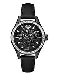 Harley-Davidson Women's Flower Power Black Leather Wrist Watch 78L119 by Harley-Davidson