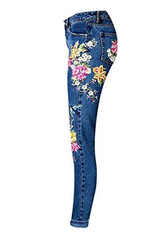 De Mujeres Bordada Flor Las Tobillo Pantalones Vaqueros De Darkblue Cintura YACUN Alta qw6f5E