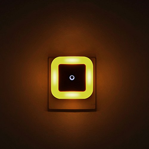 [ Orange/Amber Night Lights, Looks Like Candle Glow ] Plug in LED Wall Lamp with Dusk to Dawn Sensor, Auto ON/Off, Pack of 4 - Perfect for Bedroom, Baby and Kids Room