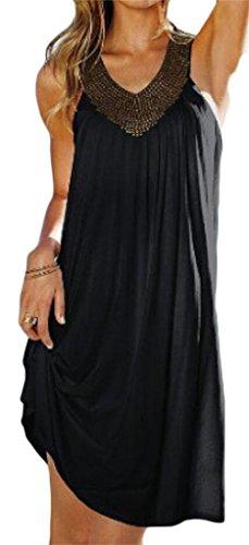 Womens Loose Summer Sleeveless V Dress Black Domple Tank Sundress Pleated Neck ApnYdq