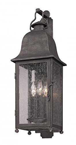 (Troy Lighting Larchmont 3-Light Outdoor Wall Lantern - Aged Pewter Finish with Clear Seeded Glass)