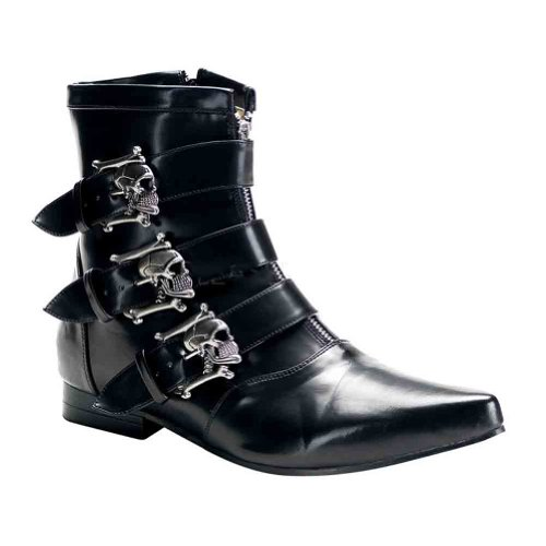 Demonia Men's/Unisex Ankle Boot With Dirty Silver Skull Buckles (Black Nappa PU;12)