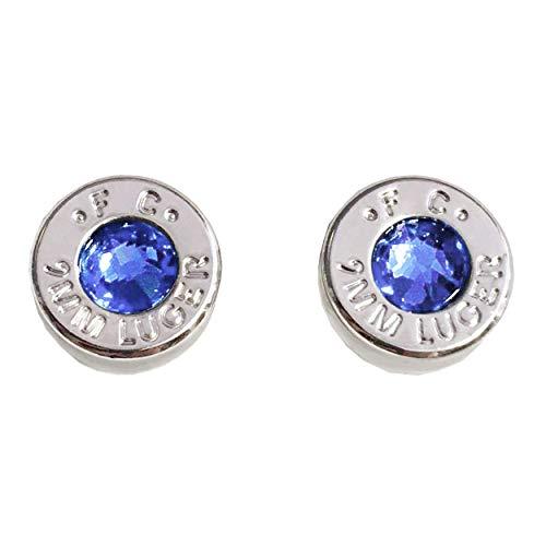 (Bullet Cartridge Studs, Blue Swarovski Crystal (September Sapphire Birthstone) - Rhodium Plated 9mm Bullet Shell Earring Jewelry)