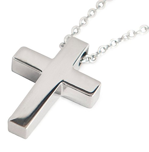 Small Cross Pendant Lord's Prayer On Chain Stainless Steel For Men Women (¾ x ½ inch)