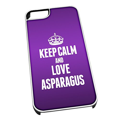 Bianco cover per iPhone 5/5S 0781 viola Keep Calm and Love asparagi
